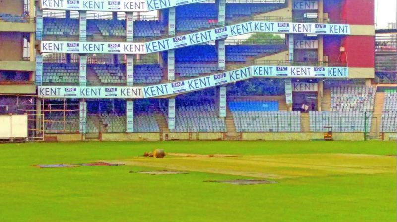 The Ferozeshah Kotla wicket sports a greenish tinge on Wednesday. The third Test begins on Saturday.