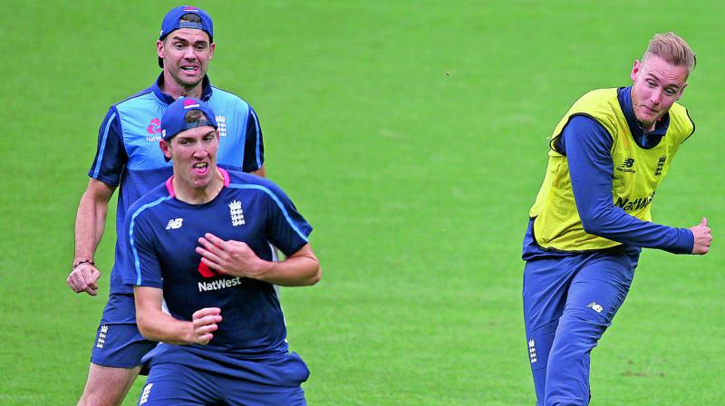 England players at a training session. (Photo: AP)