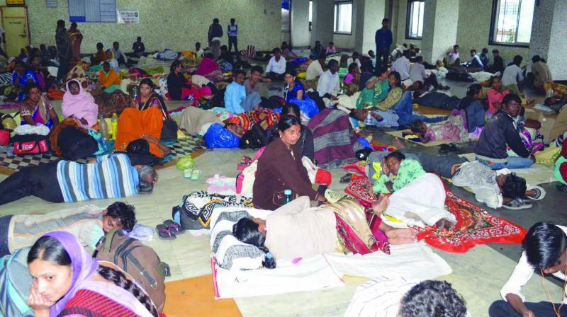 Devotees resting inside a BMC school in Dadar. (Photo: Rajesh Jadhav)