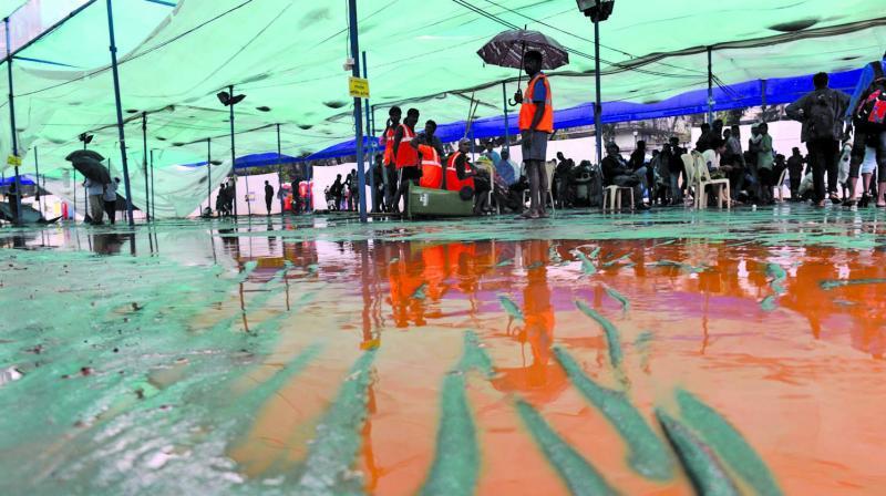 The pavilion set up at Shivaji Park in Dadar. (Photo: Rajesh Jadhav)