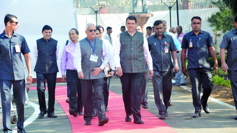 Chief minister Devendra Fadnavis walking into the venue for the assembly session.
