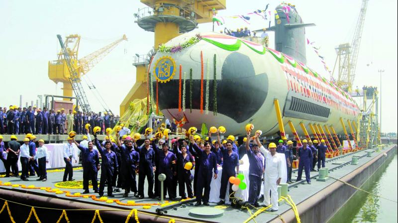 The most modern non-nuclear submarine 1,600-tonne INS Kalvari.