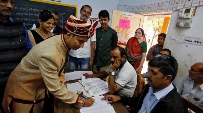 A few bridegrooms in Gujarat chose to vote first before heading to the wedding venue. (Representational Image | PTI)