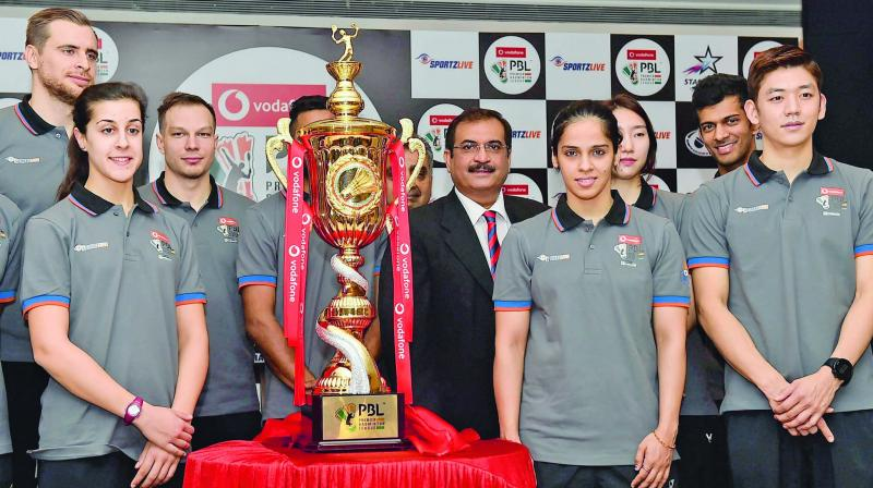 Saina Nehwal along with other players at the launch of the Premier Badminton League 3 in New Delhi.