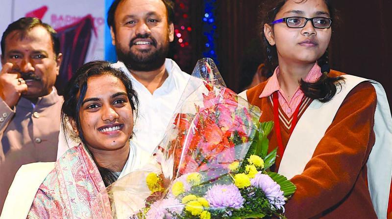 P.V. Sindhu at a felicitation event in New Delhi. (Photo: PTI)