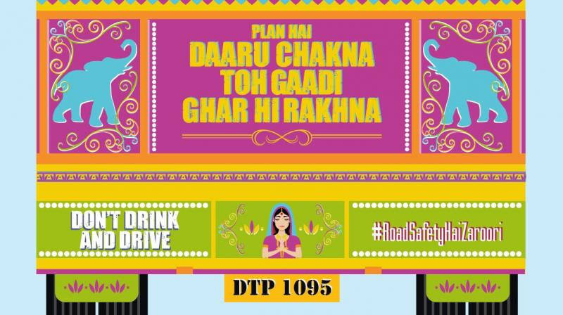 Each of the images posted on Twitter carries the helpline number for Delhi Traffic Police: 1095; the use of bright colours and Desi art form catches the attention of readers instantly. (Photo: Twitter | @DelhiPolice)