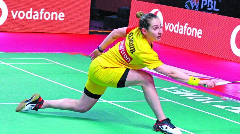 Bengaluru Blasters' Kirsty Gilmour en route to her 15-14, 15-8 win over Beiwen Zhang of Mumbai Rockets in their PBL match at Lucknow on Monday.