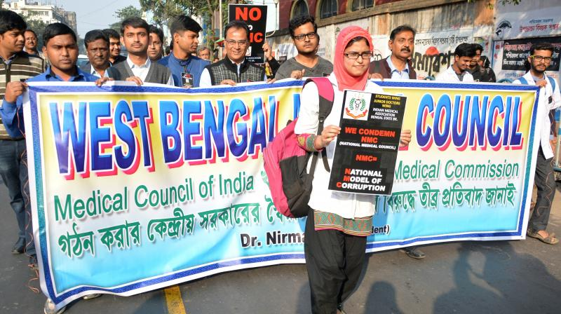West Bengal Medical Council members take out a rally from Medical College to Esplanade on Tuesday to protest against the Central government decision on Medical Council of India. (Photo: Asian age)