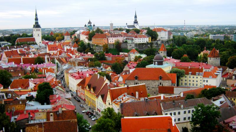 An aerial view of the city of Vana Tallinn, Estonia, abundant with elegant medieval structures. (Photo: Jayesh Ganesh)