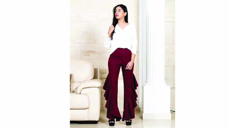 Opt for solid colours when pulling off the ruffled trouser trend ala blogger and designer Priyanka Vinod.