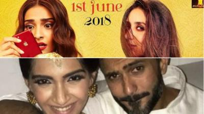 Sonam Kapoor and Kareena Kapoor Khan on 'Veere Di Wedding' poster, Sonam poses with Anand Ahuja.