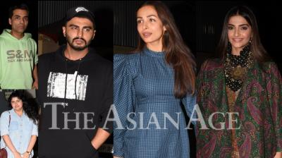On Thursday, Bollywood celebrities like Sonam Kapoor, Malaika Arora, Varun Dhawan, Karan Johar, Natasha Dalal, Khushi Kapoor and others attended the special screening of Arjun Kapoor starrer, India's Most Wanted. (Photos: Viral Bhayani)