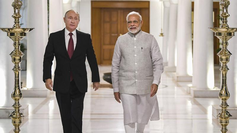 The two leaders will hold comprehensive discussions on wide-ranging bilateral, regional and international issues, including US sanctions against Moscow and counter-terrorism cooperation. (Photo: PTI)