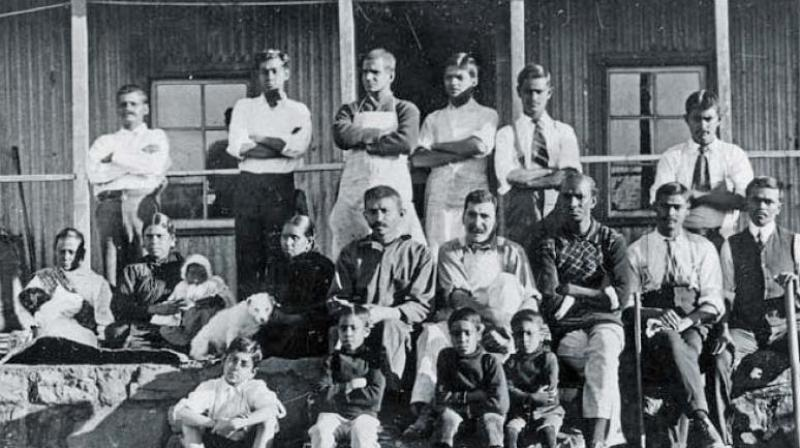 With Hermann Kallenbach (on Gandhi's left) at Tolstoy Farm, 1910. (Photo Courtesy: The Sabarmati Ashram Preservation and Memorial Trust)