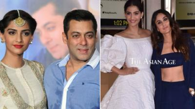 Salman Khan with Sonam Kapoor at 'Prem Ratan Dhan Payo' promotions; Sonam and Kareena Kapoor Khan unveil 'Veere Di Wedding' trailer.