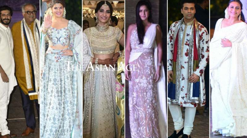 The build-up to Sonam Kapoor's wedding kicked off in style with her Sangeet ceremony taking place in Mumbai on Monday, which was attended by several celebrities. (Photos: Viral Bhayani)