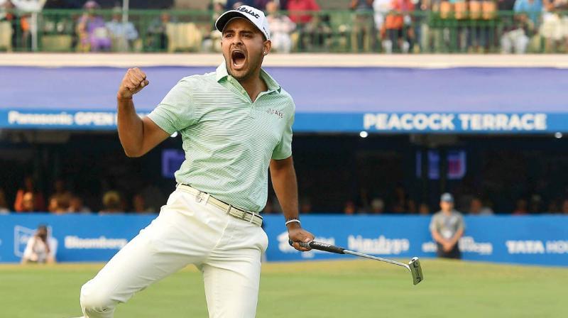 Khalin Joshi celebrates his win at the Panasonic Open in New Delhi on Sunday.