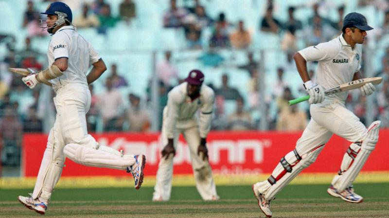 CALCUTTA SPECIALISTS? Ten years later in 2011, same pair of VVS Laxman and Rahul Dravid put West Indies attack to swrod during the first day of the 2nd Test at Eden Garden in Kolkata. PTI Photo