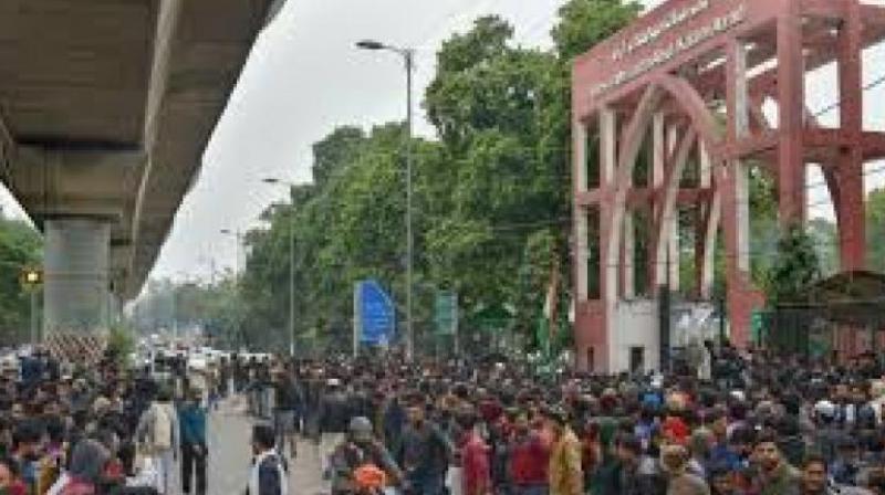 File photo shows students protesting against Delhi Police outside the Jamia Millia Islamia University. (PTI photo)