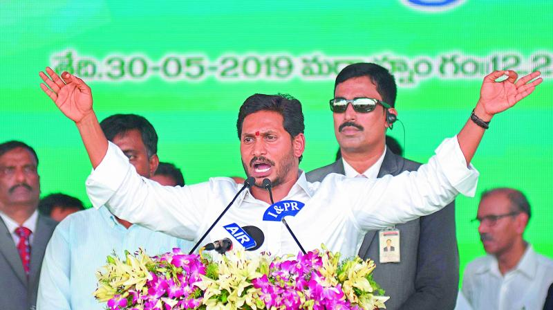 Promises to keep: File photo of Chief Minister Y.S. Jagan Mohan Reddy during his swearing-in ceremony. (Photo: Asian Age)