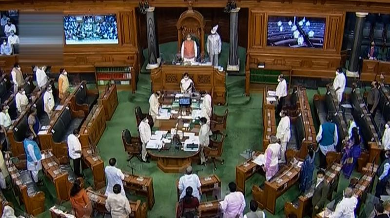 A view of the Lok Sabha on Monday. (PTI)