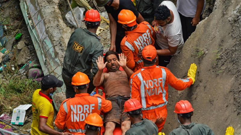 The scene at the Bhiwandi building collapse site. (PTI)