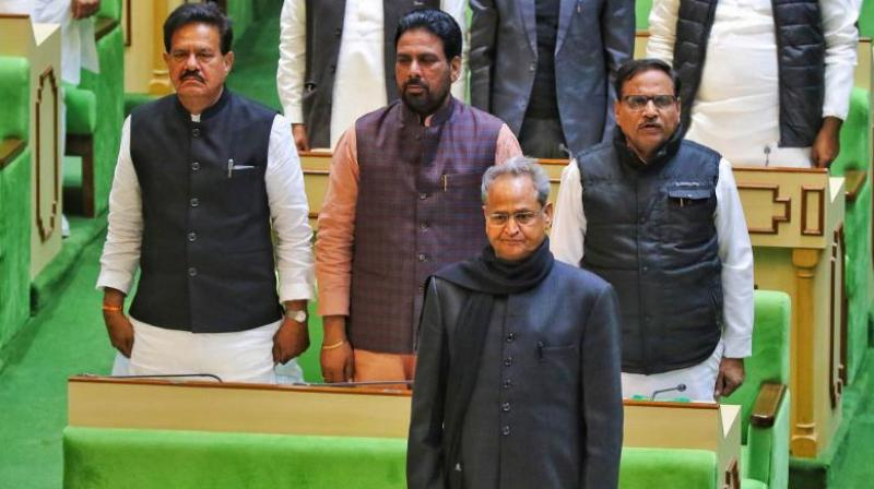 Rajasthan chief minister Ashok Gehlot during the ongoing session of the Rajasthan Assembly in Jaipur, Friday. (PTI Photo)