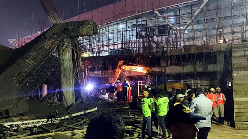 One person dead and one injured after the collapse of an under-construction roof of a link building connecting Terminal-1 and Terminal-2 of the Bhubaneswar Airport on Saturday. (Photo: ANI)