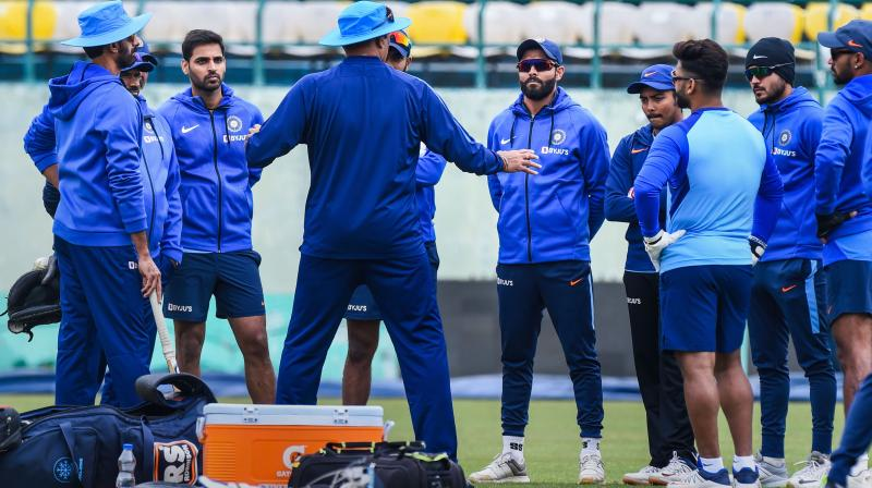 Indian cricket team during a practice session ahead of the first ODI against South Africa in Dharamshala on Wednesday. PTI Photo