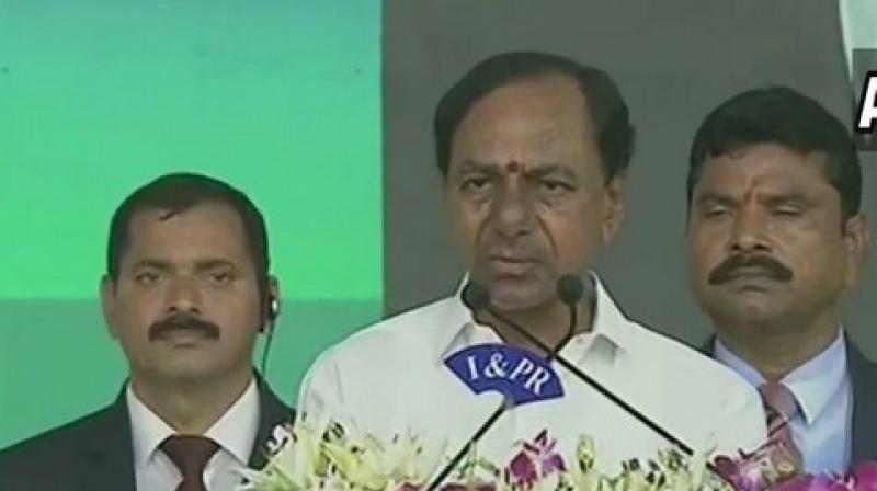 Telangana Chief Minister K Chandrashekhar Rao on Thursday said that Andhra Pradesh Chief Minister YS Jagan Mohan Reddy should continue for next four terms. (Photo: ANI)