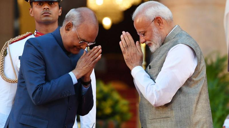 President Ram Nath Kovind was addressing a banquet in honour of the heads and representatives of foreign governments attending the swearing-in-ceremony at Rashtrapati Bhavan on Thursday. (Photo: Twitter/ @BJP4India)