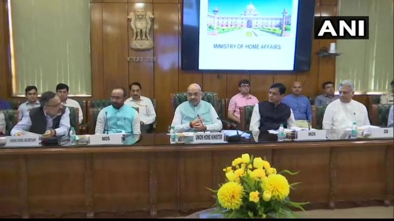 Union Home Minister Amit Shah held a meeting with top officials of the ministry. (Photo: Twitter/ANI)