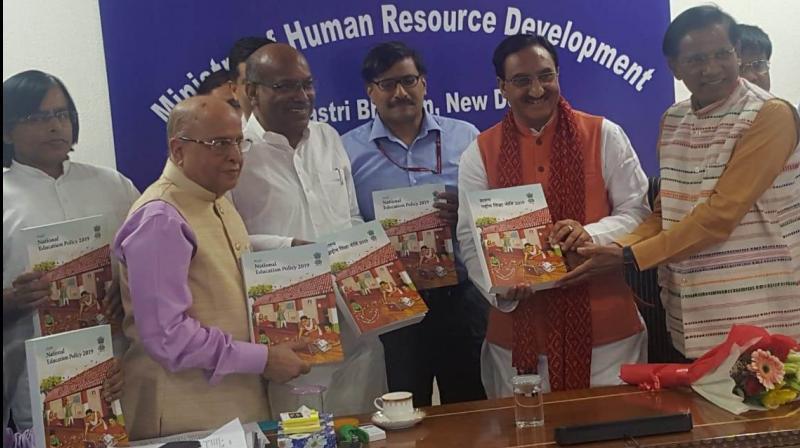 Dr Ramesh Pokhriyal Nishank, Sanjay Dhotre and R. Subrahmanyam. (Photo: Twitter/ @HRDMinistry)