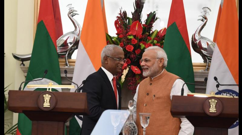 Prime Minister Narendra Modi and Maldivian President Ibrahim Mohamed Solih (Photo: Twitter   @MEAIndia)