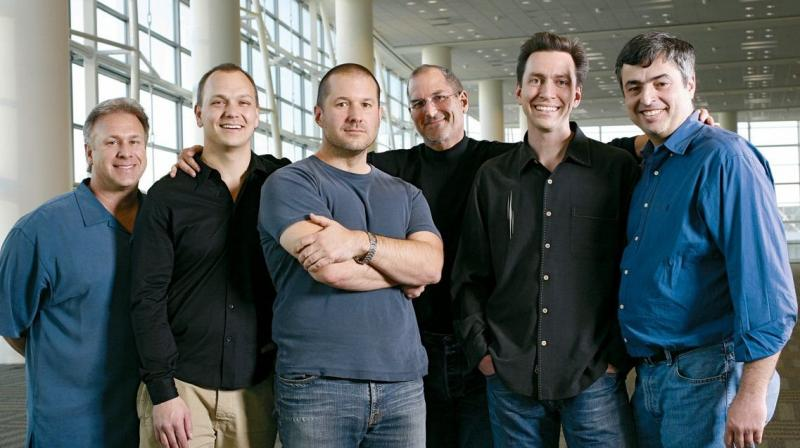 Apple's iconic 2007 iPhone team. (Left to right: Phil Schiller, Tony Fadell, Jony Ive, Steve Jobs, Scott Forstall and Eddie Cue)