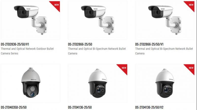 Hikvision's array of thermal cameras that can be used in public places to detect fever, without contact with the person.