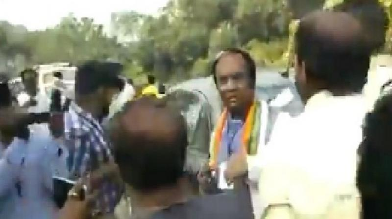 Joy Prakash Majumdar, the West Bengal BJP Vice President and candidate for Karimpur assembly by-polls was allegedly manhandled and kicked by the Trinamool Congress (TMC) workers. (Photo: ANI)