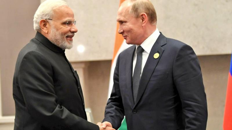 Modi was meeting Putin after their informal meeting in May in the Black Sea coastal city of Sochi in Russia in May. (Photo: Twitter | @MEAIndia)