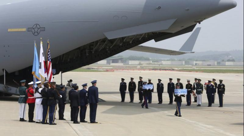 The United Nations Command said 55 cases of remains were retrieved from North Korea. (Photo: AP)