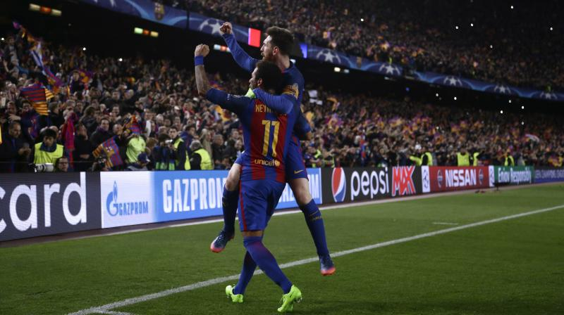 Neymar pulled two goals for Barcelona via a free-kick and penalty in the last few minutes before setting up Sergi Roberto for a 95th-minute winner. (Photo: AP)