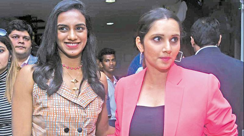 PV Sindhu and Sania Mirza in the VIP box in Eden Gardens. (Deccan Chronicle Photo)