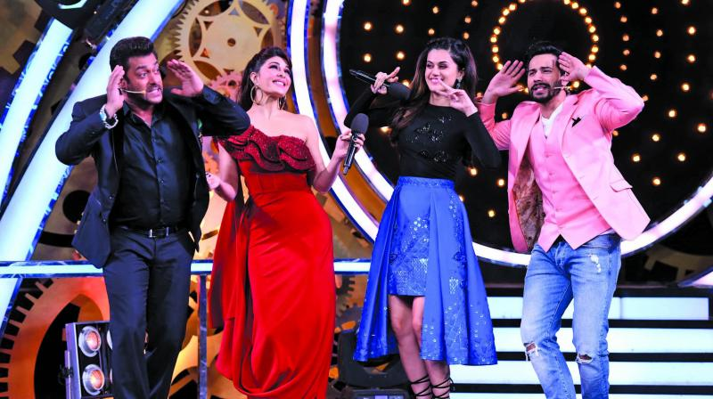 Salman Khan with the cast of Judwaa 2 on Bigg Boss 11
