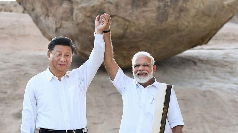 Prime minister Narendra Modi with Chinese president Xi Jinping at their summit meeting in Mamallapuram in 2019. (PTI file photo))