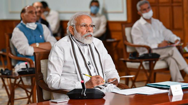 Prime minister Narendra Modi during an all-party meeting to discuss the situation along the India-China border via video conferencing in New Delhi. (PIB)