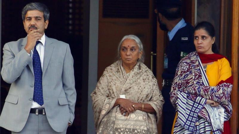 Before her meeting with husband Kulbhushan Jadhav in Pakistan, Chetankul's (left) shoes were kept for inspection, while all other belongings were returned. (Photo: AP)