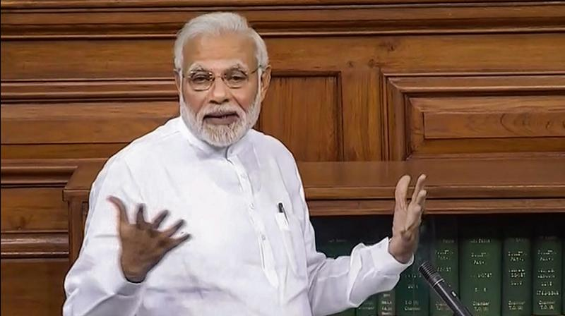 Prime Minister Narendra Modi speaks in the Lok Sabha on 'no-confidence motion' during the Monsoon Session of Parliament. (Photo: AP)