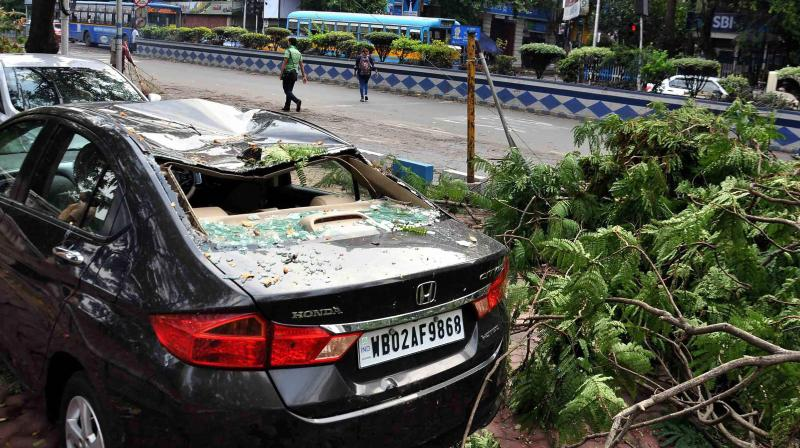 A damaged car and uprooted trees seen on the road after heavy storm and rain in Kolkata on Wednesday. More than eighteen people were killed across the state on Tuesday after strong winds of up to 98 km per hour hit the city and its adjoining areas, disrupting public transport and traffic. (Photo: PTI)