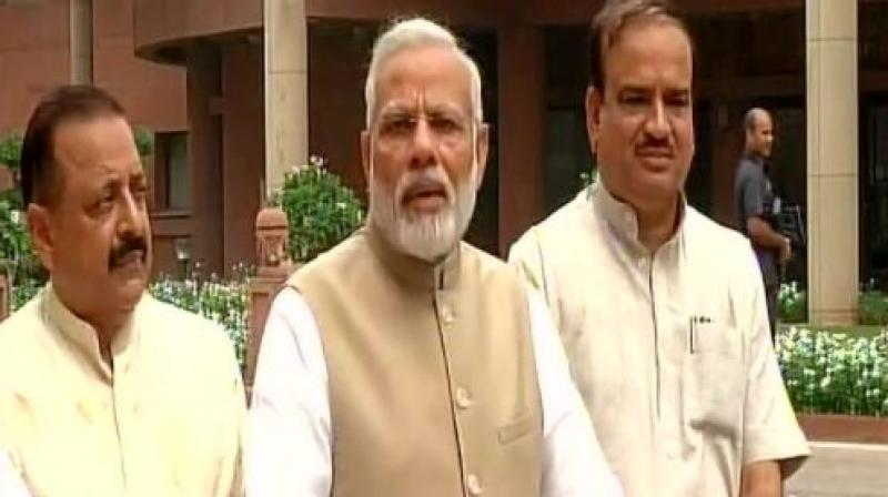 Modi said the Monsoon Session is full of excitement due to the successful implementation of GST. (Photo: ANI Twitter)