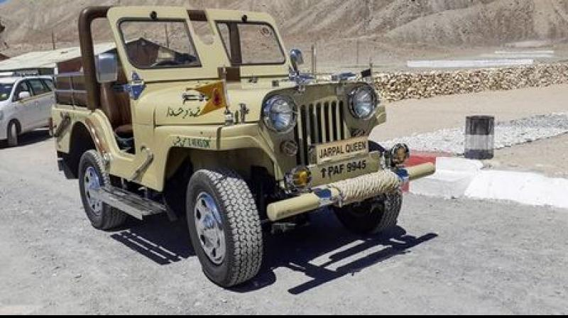 The ''Queen'', named after Jarpal in Pakistan, is actually royalty on four wheels, a Willy's jeep, sleek, shiny and in shipshape condition, the object of lavish attention at the 3 Grenadier Regiment's camp, about 40 km from Leh. (Photo: PTI)