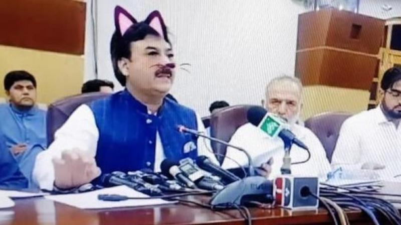 As Yousafzai spoke, the comical filter superimposed pink ears and whiskers on his face, and that of other officials sitting beside him. (Photo: Screengrab)